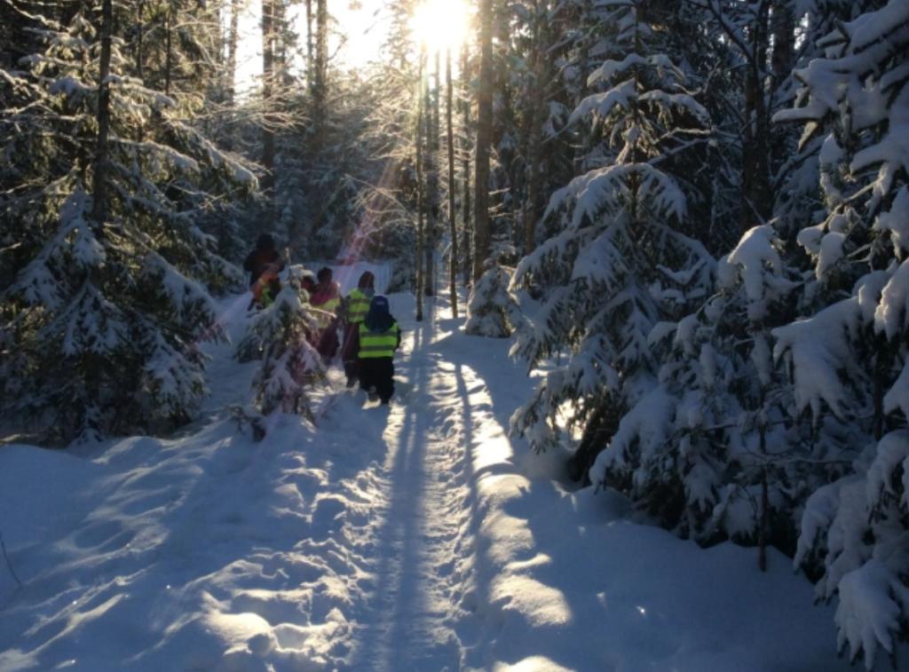 Lapset kävelevät lumisessa metsässä