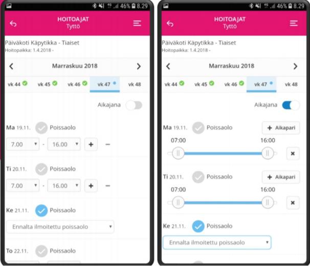 Tieto Edu -mobiilisovelluksen Hoitoaikojen ilmoittaminen -osio