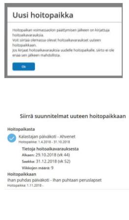 Tieto Edu -mobiilisovelluksen näkymä hoitoaikojen kopioimisesta uudelle sijoitukselle