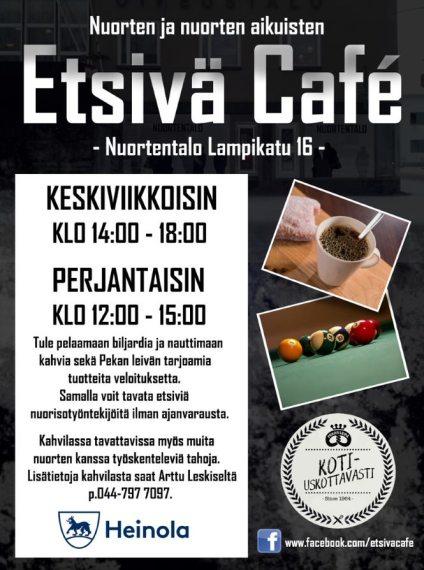 Kuvassa Etsivä Cafeb mainos. Cafe keskiviikkoisin 14-18 ja perjantaisin 12-15. Lisätietoja numerosta 044 7977097