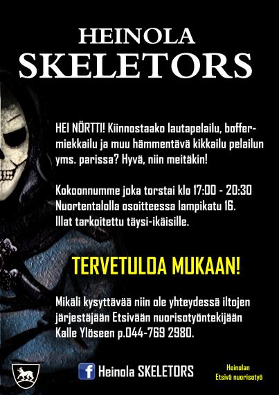 Kuvassa mainos Heinola Skeletors-pelikerhosta. Kerho kokoontuu joka torstai kello 17-20 Lampikatu 16. Lisätietoja saa Kalle Ylöseltä puhelinnumero 044 7692980