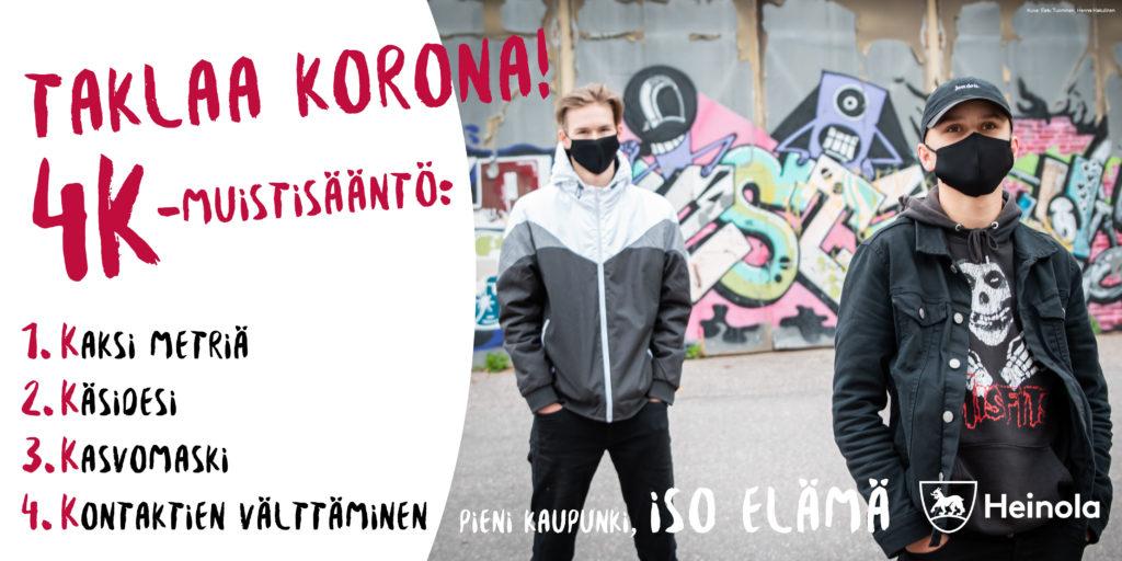 Taklaa korona -banneri