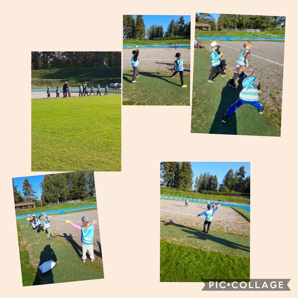 Lapset heittävät urheilukentällä palloa