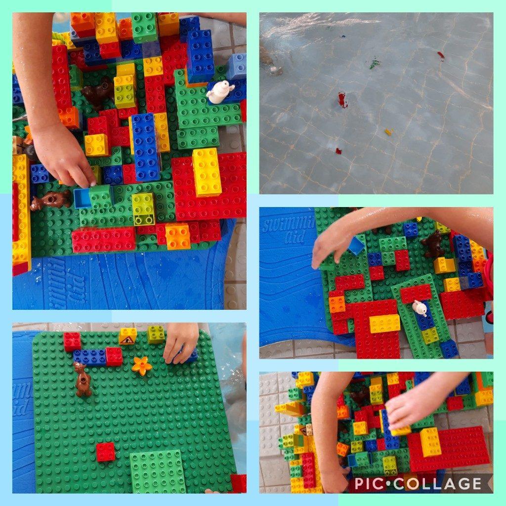 Uima-altaassa on lego-rakennuspalikoita, joista lapset ovat tehneet rakennelman