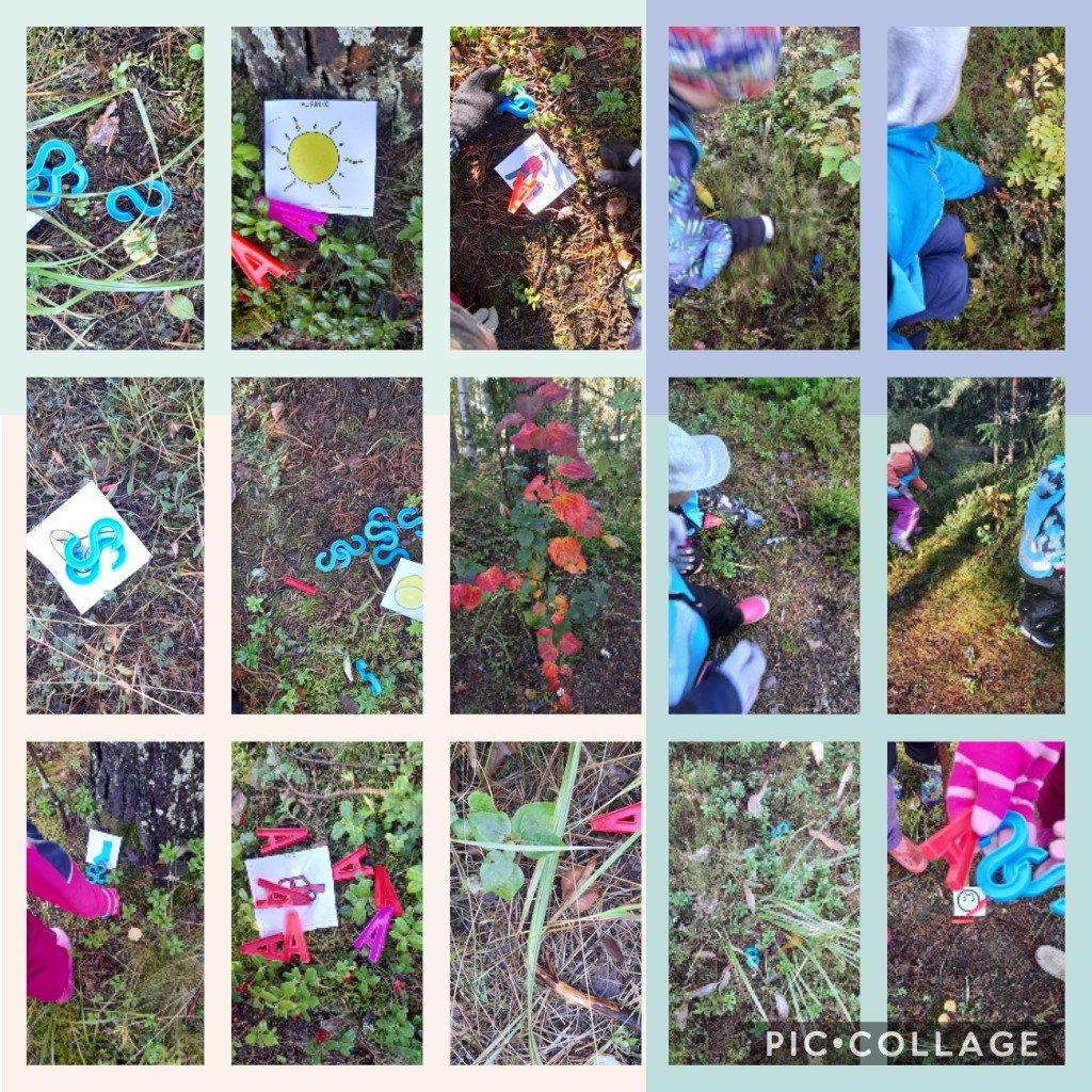 Lapset ovat etsineet luonnosta muovikirjaimia oikean kuvan kohdalle