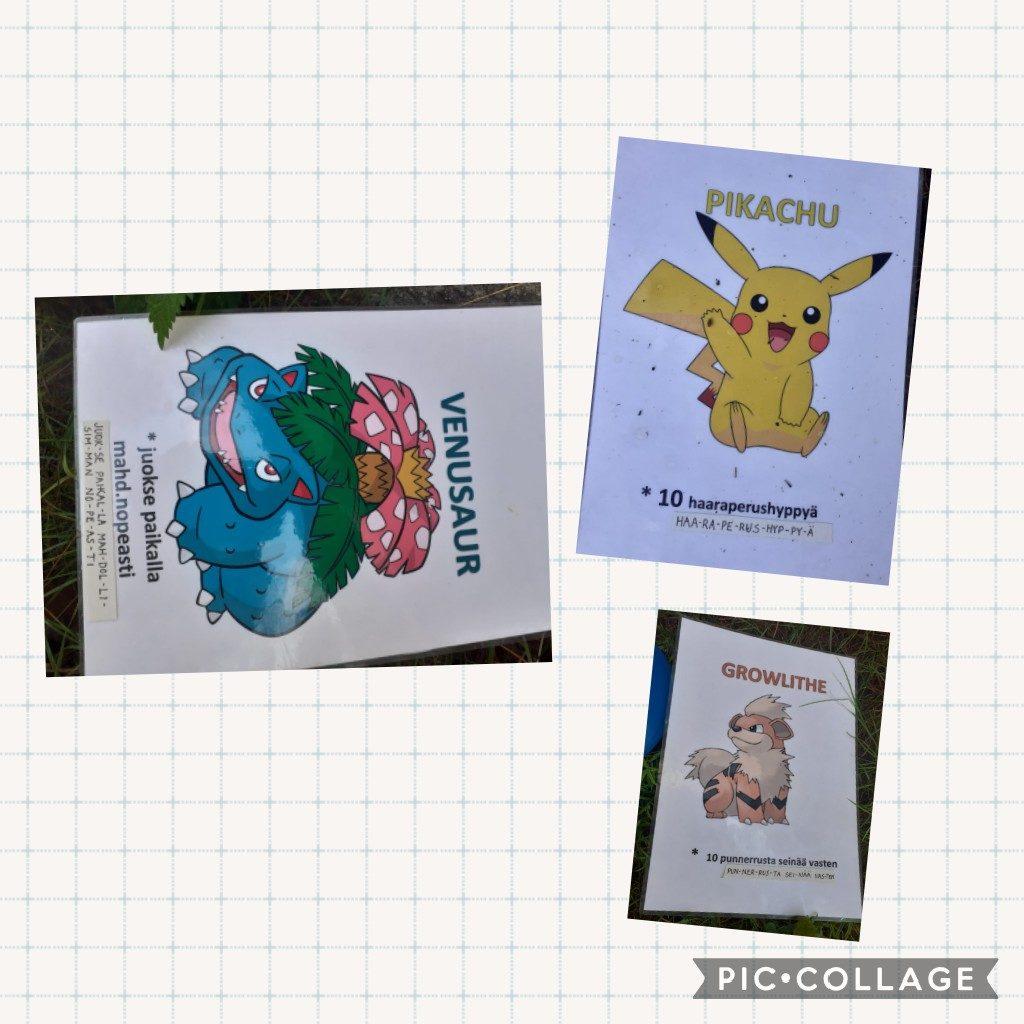 Kuvassa Pokemon-kortteja, joihin kirjoitettu liikuntatehtäviä