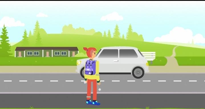 Kuvassa piirretty animaatio, jossa jalankulkija on ylittämässä tietä