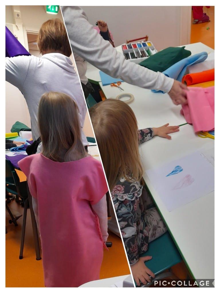 Lapset tekevät ja sovittavat itselleen huovasta tehtyjä peikkopukuja